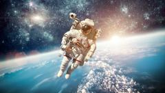 Astronaut in outer space - stock footage