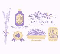 Vintage lavender background, aromatherapy and spa packaging design - stock illustration