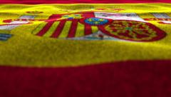 Spanish Flag, Textile Carpet Background, Movement Camera Stock Footage