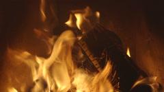 Firewood burning Stock Footage