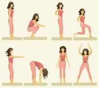 Set of simple gymnastic exercises - stock illustration