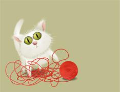 Little cat playing with ball of wool Stock Illustration