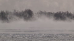Steam clouds off lake Ontario in severe cold winter of 2015 in Toronto Stock Footage