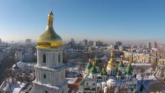 Aerial view of Saint Sophia Cathedral in Kiev, Ukraine Stock Footage