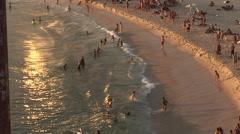 Rio de Janeiro: Beach Goers at Sundown (2) Stock Footage