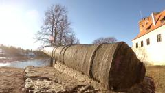 Cannon on a castle background, sunny day Stock Footage