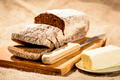 Stock Photo of Image of bread loaf and butter