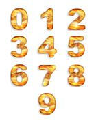 Numbers icon set with wood texture isolated on white background Stock Illustration