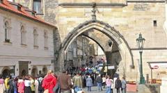 Lesser Town Bridge Tower,  Charles Bridge in Prague Stock Footage