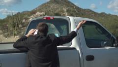Businessman Against Truck Cellular Back Stock Footage