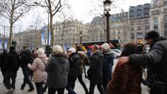 People walking in the famous Champs Elysees in Paris, France. Stock Footage