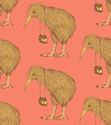 Sketch fancy kiwi bird in vintage style Stock Illustration
