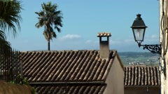 Spain Mallorca Island mountain village Montuiri 007 landscape behind rooftops Stock Footage