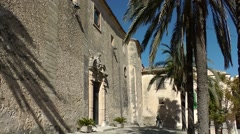 Spain Mallorca Island mountain village Montuiri 005 old church yard Stock Footage