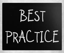 "Stock Photo of ""Best practice"" handwritten with white chalk on a blackboard"