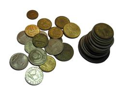 Coins stack of soviet and russian money different times isolated - stock photo
