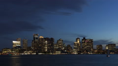 4K Time lapse close up Boston skyline at twilight - stock footage