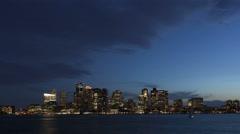 4K Time lapse Boston skyline at twilight Stock Footage