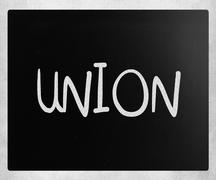 "The word ""Union"" handwritten with white chalk on a blackboard Stock Illustration"