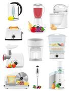 set icons electrical appliances for the kitchen vector illustration - stock illustration