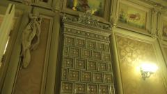 The old stove in the room inside the House with Chimeras. Kyiv. Ukraine. Stock Footage