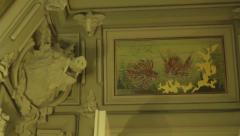 Sculpture of a wild boar on the wall inside the House with Chimeras. Kyiv. Stock Footage