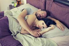 Sad woman not able to sleep relationship problem retro style Stock Photos
