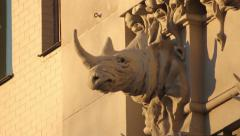 The sculpture on the wall of the House with Chimeras. Kyiv. Stock Footage