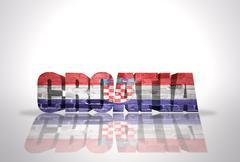Word Croatia  on the white background - stock illustration