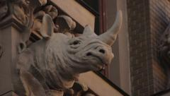 The external decoration of the walls of the House with Chimeras. Kyiv. Ukraine. Stock Footage