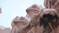 Sculptures of frogs on the wall of the House with Chimeras. Kyiv. Ukraine. Stock Footage