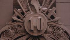 Figure 10 on the wall of the House with Chimeras. Kyiv. Ukraine. Stock Footage