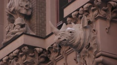 Sculpture of a rhinoceros on the wall of the House with Chimeras. Kyiv. Ukraine. Stock Footage