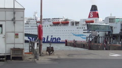 Oslo, Stena Line ferry passing by in harbour Stock Footage