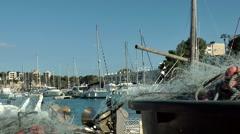 Spain Mallorca Island small town Porto Cristo 007 thin fishing nets and rigging Stock Footage