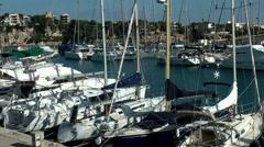 Spain Mallorca Island small town Porto Cristo 001 marina berth for sailing boats Stock Footage