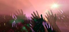 Audience Hands And Lights At Concert Stock Illustration