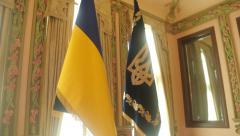 Ukrainian flag and Emblem Stock Footage