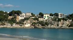Spain Mallorca Island small town Porto Cristo 011 houses on a cliff Stock Footage