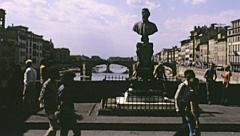 Florence 1974: people walking in Ponte Vecchio - stock footage