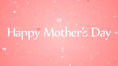 Happy Mother's Day Message with Pink Blurred Rising Hearts on Pink Background Stock Footage