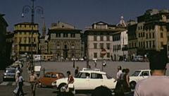 Florence 1974: traffic in Piazza de Pitti Stock Footage