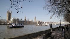 London's Big Ben/Elizabeth Tower, Southbank & Westminster Bridge   HD 1080 - stock footage
