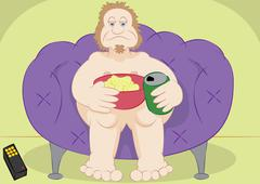 lazy guy couch potato with chips and beer - stock illustration