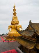 Golden Buddha on Mounth Emei - stock photo