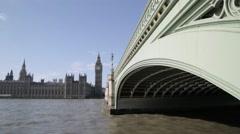 London's Big Ben/Elizabeth Tower & Westminster Bridge (Cutaway/GV) | HD 1080 - stock footage