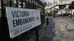 Victoria Embankment & Traffic and Pedestrians (B-Roll/Cutaway/GV) | HD 1080 Stock Footage
