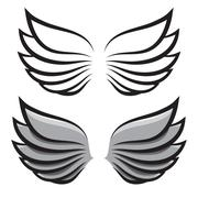 set. two pairs of wings. Black and colored - stock illustration