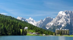 Misurina Lake on a beautiful summer day Stock Footage