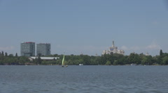 One small sailing boat on water, summer sports, freedom feeling, outdoors motion Stock Footage